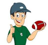 football coach holding football clipart