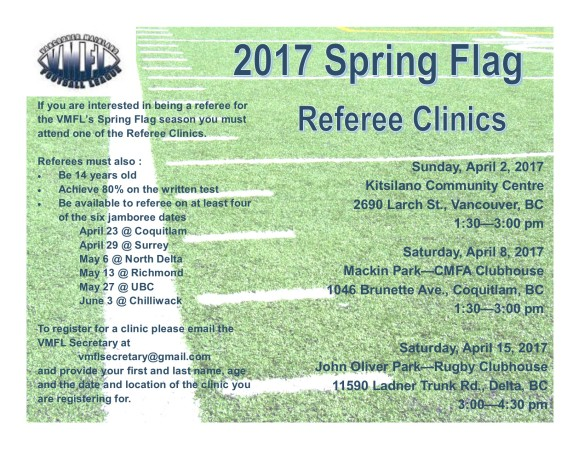 Spring Flag Referee Clinic Flyer